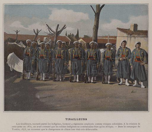 Tirailleurs. Illustration for Album Militaire (B Poussot & Valadon, c 1900).