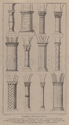 Columns, Circular Style. Illustration for [Architectural] Companion (John Henry Parker, 1846).