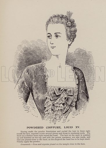 Powdered Coiffure, Louis XV. Illustration for History of Ladies Hairdressing by A Mallemont (Osborne, Garrett, 1904).