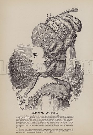 Zodiacal Coiffure. Illustration for History of Ladies Hairdressing by A Mallemont (Osborne, Garrett, 1904).