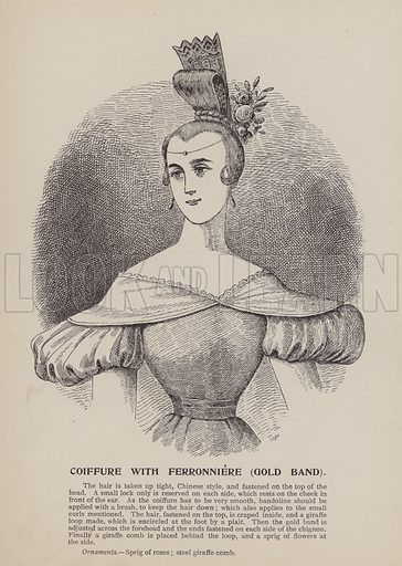 Coiffure with Ferronniere, Gold Band. Illustration for History of Ladies Hairdressing by A Mallemont (Osborne, Garrett, 1904).