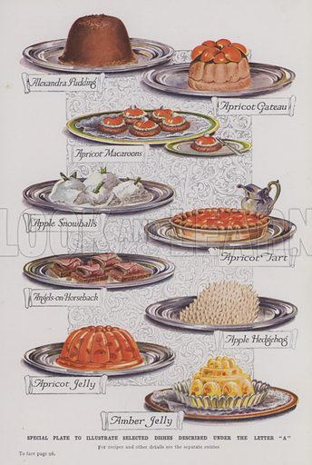 "Special plate to illustrate selected dishes described under the letter ""A"""