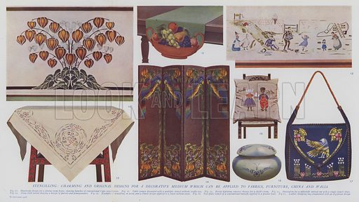 Stencilling, charming and original designs for a decorative medium which can be applied to fabrics, furniture, china and walls. Illustration for Harmsworth