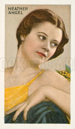 Heather Angel. Illustration for one of a series of cigarette cards on the subject of Champions of Screen and Stage, published by Gallaher, early 20th century.