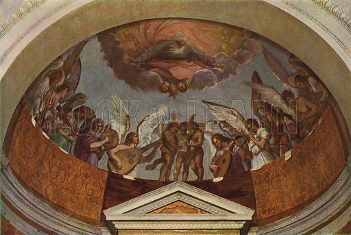 "S Gregorio, ""Angel Choir"" by Guido Reni. S Gregorio, ""Coro d'Angeli"" di Guido Reni. Illustration for Roma Sacra (Uvachrom, 1925). Photographs by Ludwig Preiss."