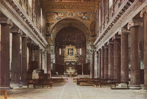 S Maria in Trastevere, Interior and Mosaic Apse. S Maria in Trastevere, Interno e mosaico dell'abside. Illustration for Roma Sacra (Uvachrom, 1925). Photographs by Ludwig Preiss.