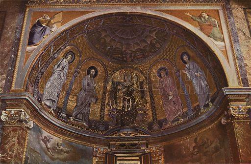 S Francesca Romana, Mosaic Apse. S Francesca Romana, Mosaico dell'abside. Illustration for Roma Sacra (Uvachrom, 1925). Photographs by Ludwig Preiss.