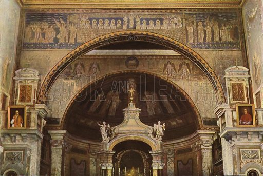 S Prassede, Arch and Mosaic Apse. S Prassede, Mosaico dell'Arco trionfale e dell'abside. Illustration for Roma Sacra (Uvachrom, 1925). Photographs by Ludwig Preiss.