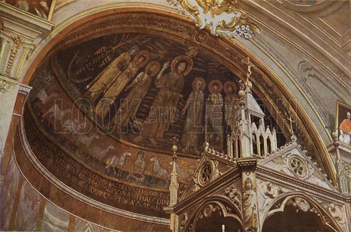 S Cecilia, Mosaic Apse. S Cecilia, Mosaico dell'abside. Illustration for Roma Sacra (Uvachrom, 1925). Photographs by Ludwig Preiss.