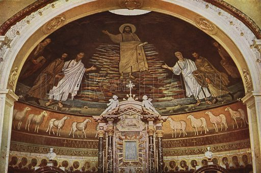Basilica of SS Cosmas and Damian, Mosaic Apse. SS Cosma e Damiano, Mosaico dell'abside. Illustration for Roma Sacra (Uvachrom, 1925). Photographs by Ludwig Preiss.