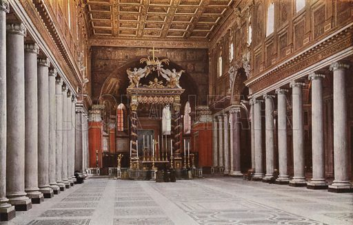 S Maria Maggiore, Interior. S Maria Maggiore, Interno. Illustration for Roma Sacra (Uvachrom, 1925). Photographs by Ludwig Preiss.