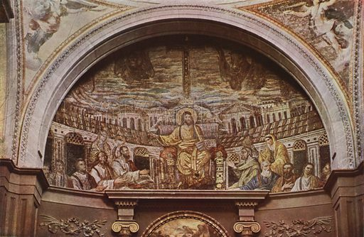 St Pudentiana's, Mosaic Apse. S Pudenziana, Mosaico dell'abside. Illustration for Roma Sacra (Uvachrom, 1925). Photographs by Ludwig Preiss.