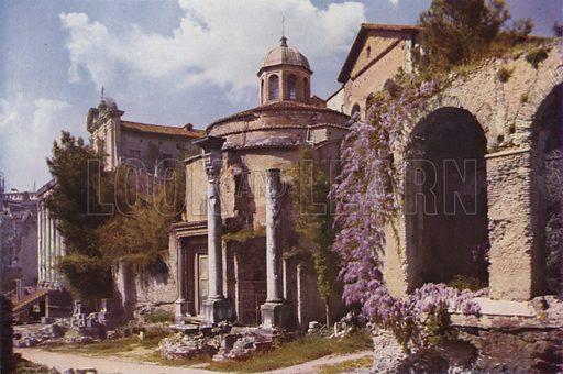 The Basilica of SS Cosmas and Damian. La Basilica dei SS Cosma e Damiano. Illustration for Roma Sacra (Uvachrom, 1925). Photographs by Ludwig Preiss.