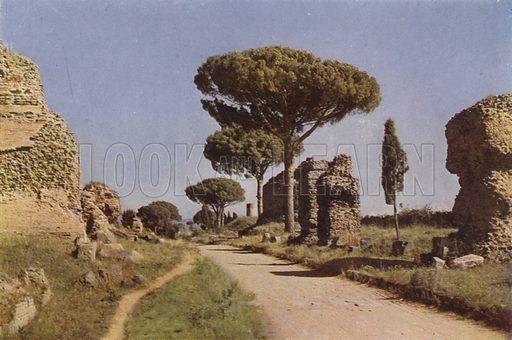 The Appian Way. La Via Appia. Illustration for Roma Sacra (Uvachrom, 1925). Photographs by Ludwig Preiss.