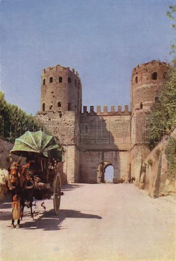 The Appian Gate. Porta Appia. Illustration for Roma Sacra (Uvachrom, 1925). Photographs by Ludwig Preiss.