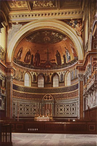 Lateran Basilica, Mosaic Apse. S Giovanni in Laterano, Mosaico dell'abside. Illustration for Roma Sacra (Uvachrom, 1925). Photographs by Ludwig Preiss.