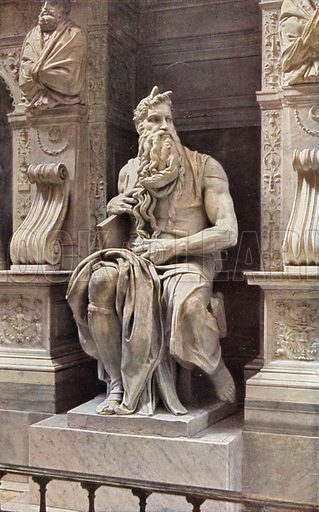 """S Pietro in Vincoli, """"Moses"""" of Michael Angelo. S Pietro in Vincoli, Il Mose di Michelangelo. Illustration for Roma Sacra (Uvachrom, 1925). Photographs by Ludwig Preiss."""