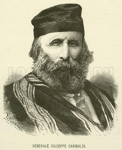 Generale Giuseppe Garibaldi. Illustration for Della Vita di Giuseppe Mazzini by Jessie W Mario (Edoardo Sonzogno, 1886).