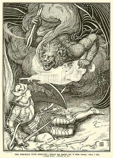The Struggle with Apollyon. Illustration for The Pilgrim's Progress by John Bunyan illustrated by the three brothers, George Woolliscroft Rhead, Frederick Rhead and Louis Rhead (C Arthur Pearson, nd).