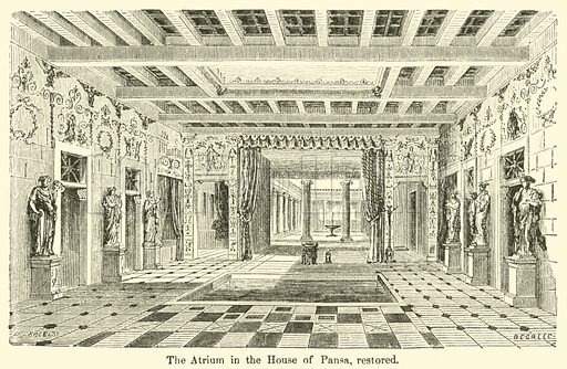 The Atrium in the House of Pansa, restored. Illustration for The Wonders of Pompeii by Marc Monnier (Scribner, 1872).