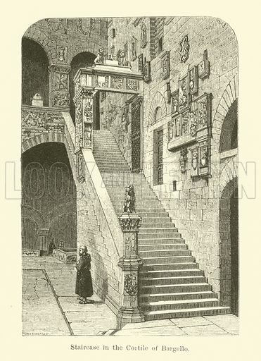 Staircase in the Cortile of Bargello. Illustration for The Makers of Florence by Mrs Oliphant (Macmillan, 1876).