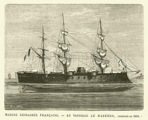 Marine Cuirassee Francaise, Le Vaisseau le Marengo, construit en 1865. Illustration for L'Univers Illustre, 6 August 1870.