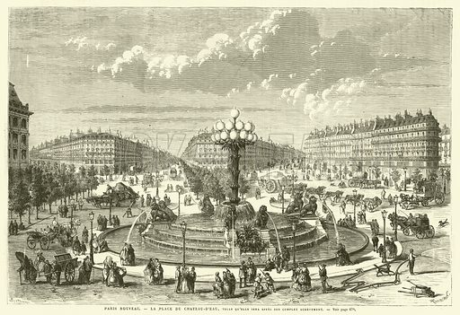 Paris Nouveau, La Place du Chateau-D'Eau, Telle Qu'elle Sera Apres Son Complet Achevement. Illustration for L'Univers Illustre, 19 November 1870.