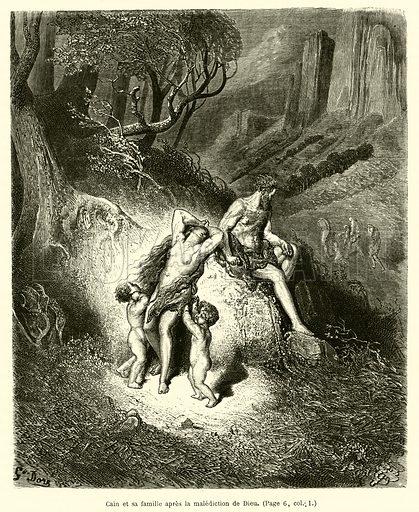Cain et sa famille apres la malediction de Dieu. Illustration for La Bible Populaire, Ancien Testament (Hachette, 1864).