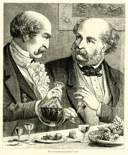 The General stopped his hand. Illustration for Chatterbox (1868).