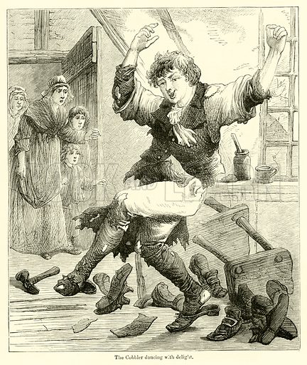 The Cobbler dancing with delight. Illustration for Chatterbox (1875).