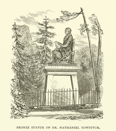 Bronze statue of American mathematician Dr Nathaniel Bowditch (1783-1838), Mount Auburn Cemetery, Cambridge, Massachusetts. Illustration from Young Folks' History of Boston by Hezekiah Butterworth (Estes and Lauriat, Boston, 1881).