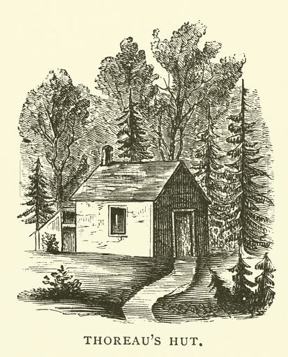 Thoreau's Hut, Walden Woods, Concord, Massachusetts. The hut built in 1845 by American writer, naturalist and philosopher Henry David Thoreau, in which he spent two years undertaking an experiment in simple living that inspired his most famous book, Walden. Illustration from Young Folks' History of Boston by Hezekiah Butterworth (Estes and Lauriat, Boston, 1881).