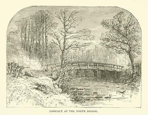 Conflict at the North Bridge, Battle of Concord, Massachusetts, 1775. Illustration from Young Folks' History of Boston by Hezekiah Butterworth (Estes and Lauriat, Boston, 1881).