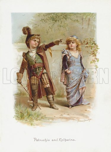 Petruchio and Katharina. The Taming of the Shrew. Illustration from The Children's Shakespeare by E Nesbit (Raphael Tuck and Sons, Ltd, London, Paris & New York).