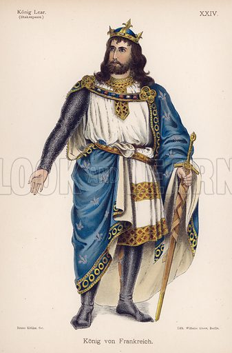 The King of France, from Shakespeare's King Lear. Illustration from Trachtenbilder für die Bühne (Costumes for the Stage) by Bruno Kohler (Max Pasch, Berlin, 1890).