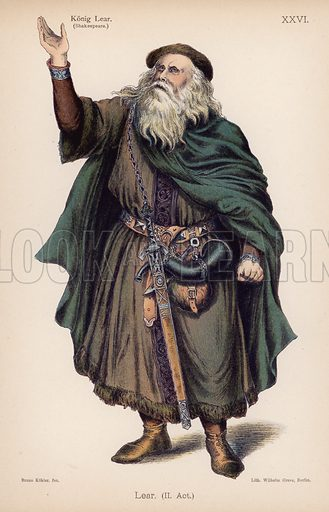 Lear, King of Britain, from Shakespeare's King Lear. Illustration from Trachtenbilder für die Bühne (Costumes for the Stage) by Bruno Kohler (Max Pasch, Berlin, 1890).