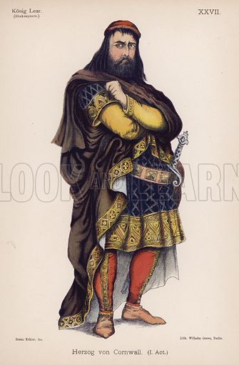 The Duke of Cornwall, from Shakespeare's King Lear. Illustration from Trachtenbilder für die Bühne (Costumes for the Stage) by Bruno Kohler (Max Pasch, Berlin, 1890).