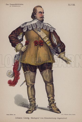 Johann Georg, Margrave of Brandenburg-Jagerndorf, from Der Generalfeldoberst by Ernst von Wildenbruch. Illustration from Trachtenbilder für die Bühne (Costumes for the Stage) by Bruno Kohler (Max Pasch, Berlin, 1890).