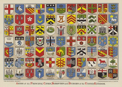 Arms of the principal cities, boroughs and burghs of the United Kingdom. Illustration from The Boy's Own Paper, 1901.