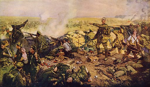 The indomitable Canadians at the famous Battle of Ypres. The Second Battle of Ypres, the battle at which the Germans first successfully used poison gas. Illustration from History's Greatest War, a Pictorial Narrative, by SJ Duncan-Clark (The Geographical Publishing Co, Chicago, 1919).