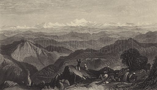 Snowy range, from Tyne or Marma. The Himalayas. Illustration from The History of the Indian Mutiny by Charles Ball (The London Publishing and Printing Company Limited, London and New York, c1858).