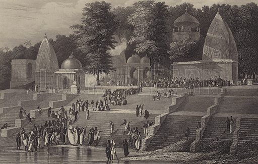 Sutteeism on the banks of the Ganges – preparing for the immolation of a Hindu widow. Illustration from The History of the Indian Mutiny by Charles Ball (The London Publishing and Printing Company Limited, London and New York, c1858).