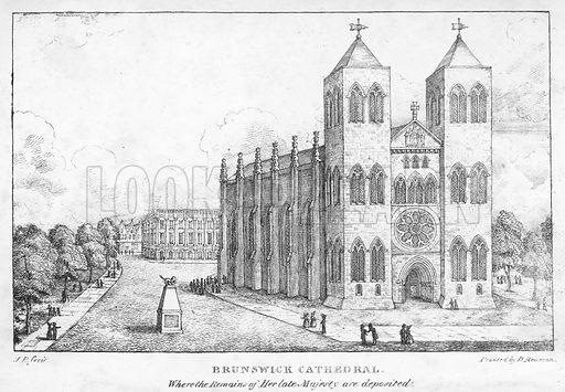 Brunswick Cathedral, Germany. Illustration from The Last Days, Death, Funeral Obsequies &c of Her Late Majesty Caroline, Queen Consort of Great Britain (Jones & Co, London, 1822).