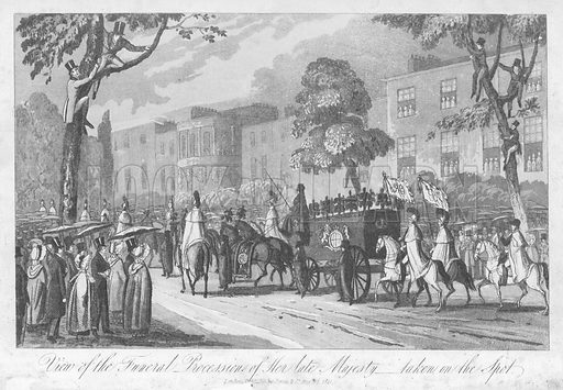 Funeral procession of Caroline of Brunswick, Queen Consort of King George IV, 1821. Illustration from The Last Days, Death, Funeral Obsequies &c of Her Late Majesty Caroline, Queen Consort of Great Britain (Jones & Co, London, 1822).