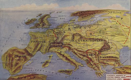Perspective map of Europe showing the war zones and armistice lines. Illustration for Harper's Pictorial Library of the World War, c 1920.
