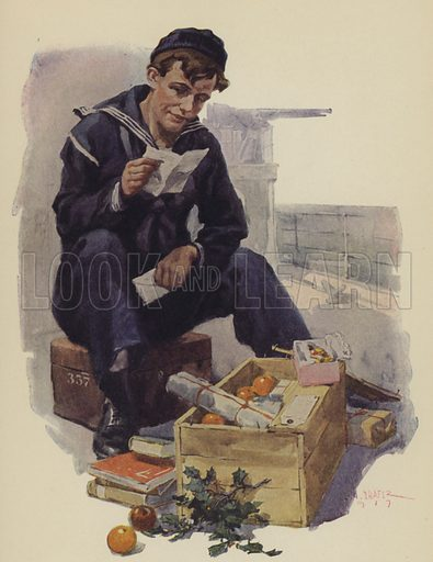 The Box from Home. Illustration for Harper's Pictorial Library of the World War, c 1920.
