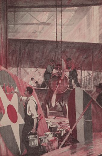 Building an Aeroplane. Illustration for Harper's Pictorial Library of the World War, c 1920.