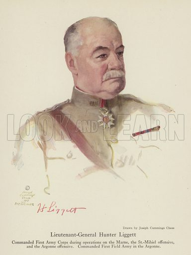 Lieutenant-General Hunter Liggett, American soldier. Illustration for Harper's Pictorial Library of the World War, c 1920.