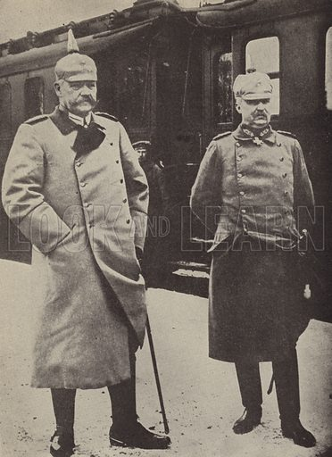 Erich Ludendorff and Paul von Hindenburg, German Army commanders. Illustration for Harper's Pictorial Library of the World War, c 1920.