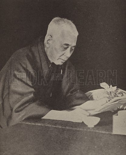 Hara Takashi (1856–1921), Japanese Prime Minister. Illustration for Harper's Pictorial Library of the World War, c 1920.